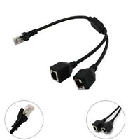 RJ45 Network Splitter Y Adapter Cable 1 Male to 2 Female LAN Port Ethernet Cord