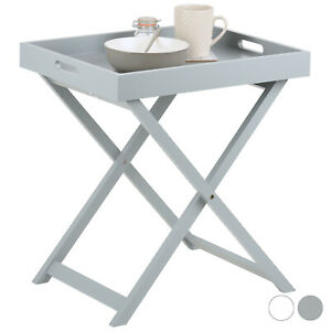 Hartleys Folding Butlers Side Table Portable Wooden Serving Tray Drinks/Dinner