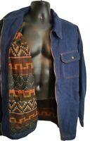 VTG Denim Jacket size XL Aztec Blanket Lined Duke Haband western rodeo