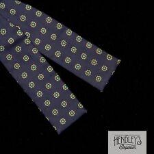 Vintage 80s BROOKS BROTHERS Bowtie in Grass Beige Medallions on Navy Silk Twill