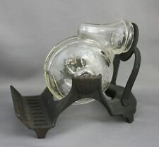 Cast Iron Clear Glass Rotating Nautilus Snail Inkwell Swivel Victorian