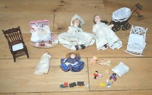 Dolls House Furniture Set Accessories 1:12 bundle - Nursery Pram, Cot Rocking