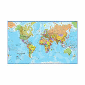 LARGE MAP OF THE WORLD POLITICAL MAP POSTER PRINT WALL BACKDROP