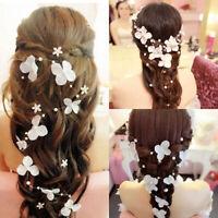 KE_ FT- BH_ Flowers Pearl Tiara Bridal Wedding Party Crown Headdress Headband