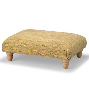 Biagi Upholstery & Design Citrine Orange Stone Grey Footstool on Turned Feet