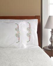 Stamped Cross Stitch ~ Plaid/Bucilla Floral Scroll Pillowcase Pair #47706