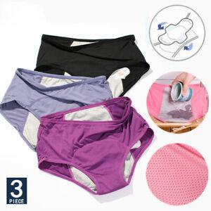 3pcs Menstrual Period Leak Proof Panties Women Underwear Pants Nylon Briefs NEW