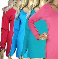 Long Sleeve Scoop Neck Cotton Tops & Shirts Plus Size for Women
