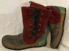 Groundhog Red&Brown Mid Calf Leather Beautiful Boots Size 39 (934Q)