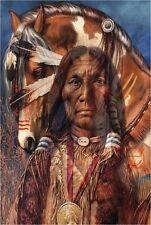 VINTAGE SIOUX SPIRIT PAINTED WAR HORSE NATIVE CHIEF CANVAS ART PRINT BIG
