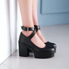 New Pumps Womens Buckle Mary Jane Brogue Round Toe Flatform Platform Shoes US8
