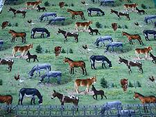 1 Yard Quilt Cotton Fabric- Elizabeth Studios Farm Animals Donkey Mule Burro