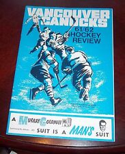 Vancouver Canucks WHL game Program 1961-62 vs Seattle Totems