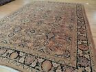 Antique Mahal 9x12 Oriental Area Rug wool hand-knotted Rust Black Blue Beige