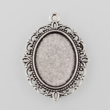 10 pc Antique Silver Alloy Oval Pendant Cabochon Settings Tray 25x18mm 40x30x2mm