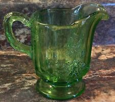 VINTAGE SMALL GREEN GLASS PITCHER CREAMER GRAPES