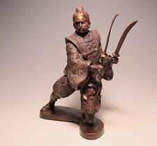 Antique Japanese Solid Bronze Samurai with 4 Swords on Stand,AWESOME !