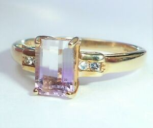 9ct Gold Emerald Cut Bi-Colour Tourmaline & Clear Quartz Ring, Size N