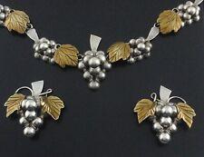 GRAPE VINE CLUSTER Necklace/Clip On Earrings Set VTG Sterling Silver 925 RARE *