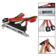2-eSATA + 4 Pin Power Bracket Port to Female SATA Cable Useful Kits Durable