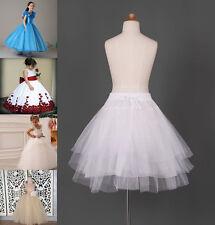 White Hoopless Kids Petticoat Bridal Flower Girls Dress Underskirt Slips Skirt