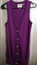 JUICY COUTURE Purple Button-Up Sleeveless Cardigan Petite P