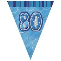 Blue Glitz 80 Flag Banner 12 Ft String Flags 80th Birthday Party Decorations