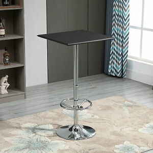 HOMCOM Square Bar Table with Faux Leather Tabletop Adjustable Footrest