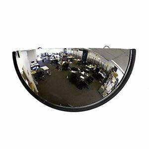 """18"""" Acrylic Bubble Half Dome Mirror with Black Rim, Round Indoor Security"""