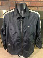 Vintage Nike Air Full Zip Windbreaker Warmup Jacket Coat Mens Size Medium Black