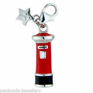 Tingle Sterling Silver Charm Clip on Pillar Post Box with Gift Bag and Box