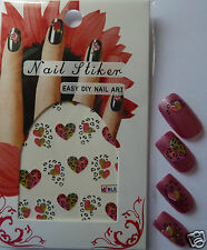 Nail art, cute leopard hearts and spots water transfer / stickers. BLE362