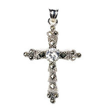 Cross Marcasite Pendant with Clear CZ Sterling Silver 925 Christian Jewelry Gift