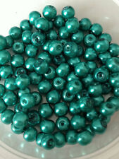 6mm Glass Faux Pearls - Teal (100 beads) jewellery making