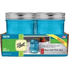 Ball Collection Elite Blue Jars - Regular Mouth Half Pint / 8oz x 4 pack