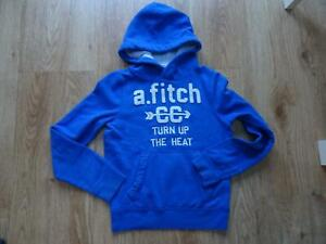 ABERCROMBIE & FITCH boys blue hooded sweatshirt jumper LARGE AGE 10 - 11 years