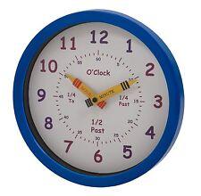 UNITY CHILDREN'S BEDROOM NURSERY TELL LEARN THE TIME WALL CLOCK BLUE BOY