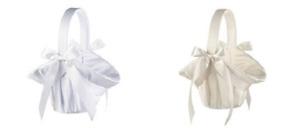 white or ivory satin flower girl basket wedding flower girl basket