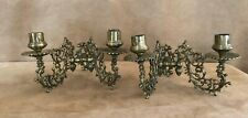 Antique pair metal candle folding sconces wall hanging candelabra holder gold