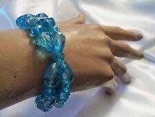 SKY BLUE Aurora Borealis Silvertone Rhinestone BUTTERFLY Stretch Bracelet LA-B12