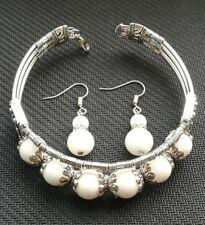 Ladies Bangle Jewelry Tibet Silver White Jade Bracelet Woman Earrings Set