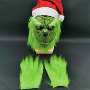 The Grinch Full Head Latex Mask+Gloves+Xmas Hat Cosplay Halloween Party Props US