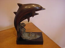 "Two Jumping Dolphins Bronze Sculpture Figurine Statue 6 1/4"" x 3 1/2"" x 10"""