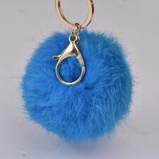 8cm Blue Soft Fluffy 100% Real Rabbit Fur Purse Charm Pompom Keychain