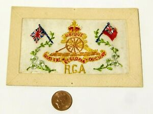 WW1 RGA Royal Garrison Artillery Badge French Embroidered Silk Postcard #SP18