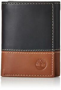 Timberland Men's Premium Genuine Leather Trifolder Wallet Black-Brown