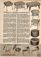 1955 PAPER AD Mid Century Modern Butterfly Chair Circle Folding Telephone Table