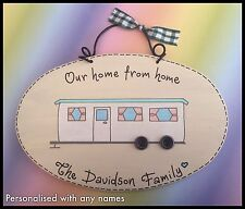 Personalised STATIC Caravan Sign OUR HOME FROM HOME Plaque with names - Handmade