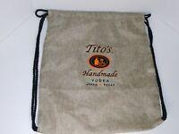 TITO's Handmade Vodka Burlap Cinch Bag/backpack  Large 18x16 -NEW