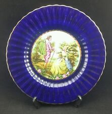 Lovely Wade Royal Victoria Pottery Courting Couple Gilt & Cobalt Blue Fluted Rim